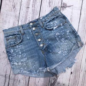 Carmar high waist button fly jean distressed short